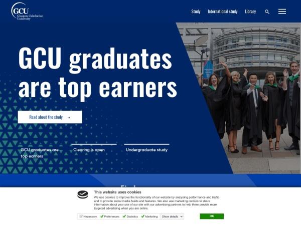 Screenshot of www.gcu.ac.uk