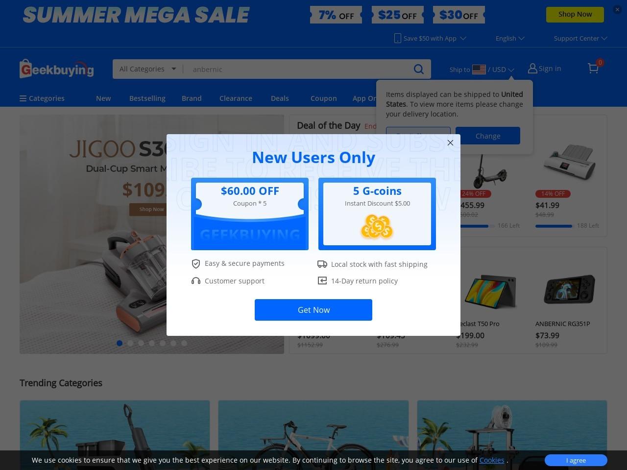 Screenshot of www.geekbuying.com