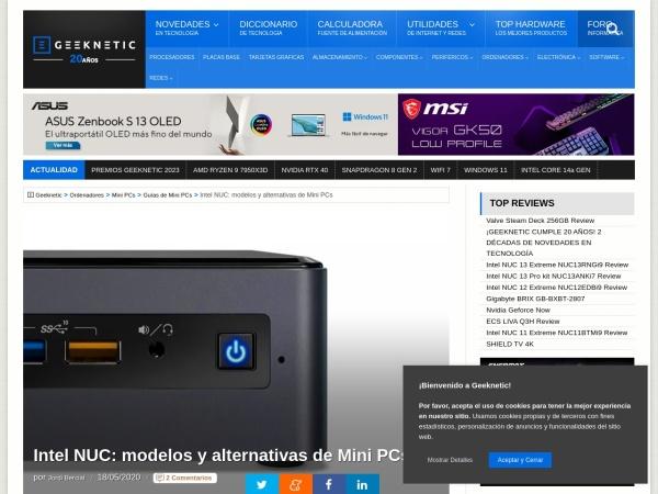 Captura de pantalla de www.geeknetic.es