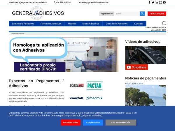 Captura de pantalla de www.generaladhesivos.com