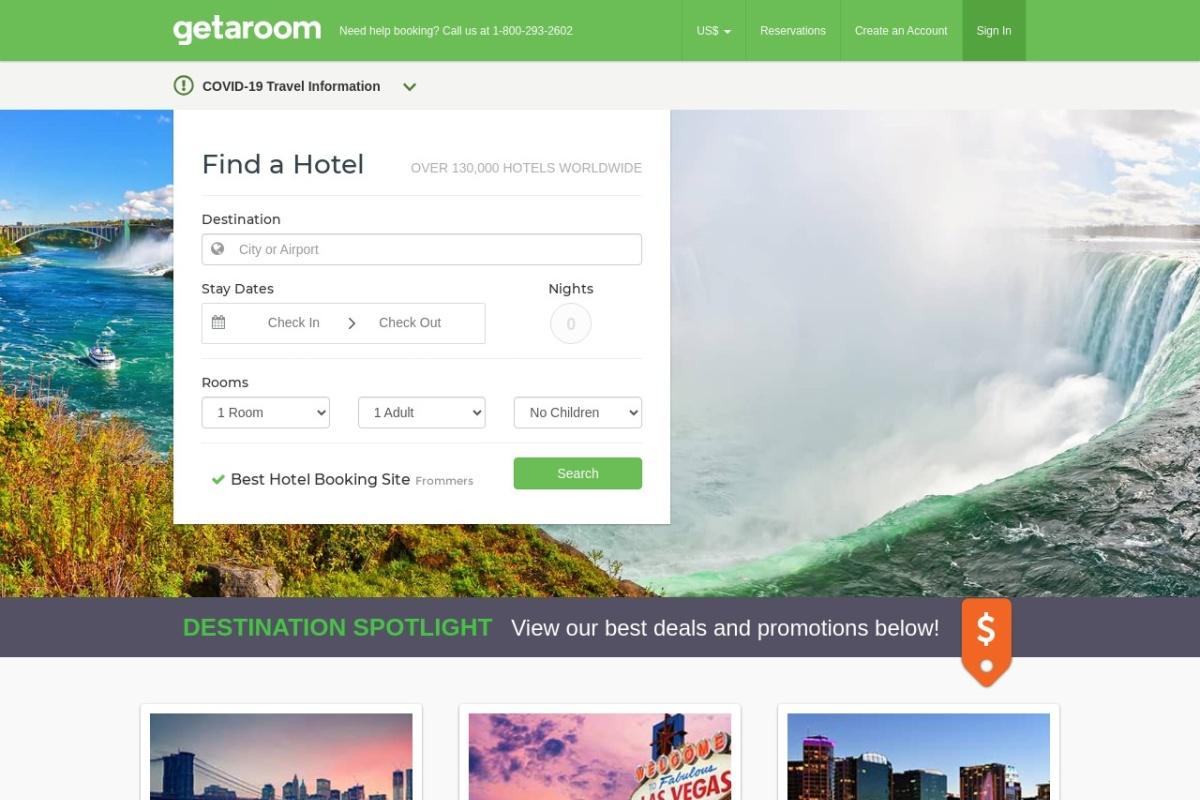 Screenshot of www.getaroom.com