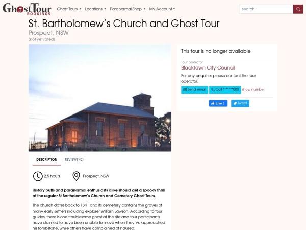 Screenshot of www.ghosttourbookings.com.au