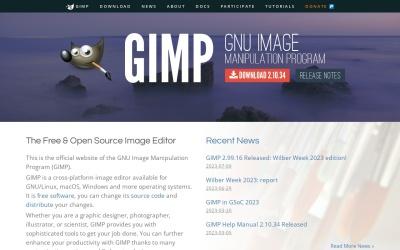 Screenshot of www.gimp.org