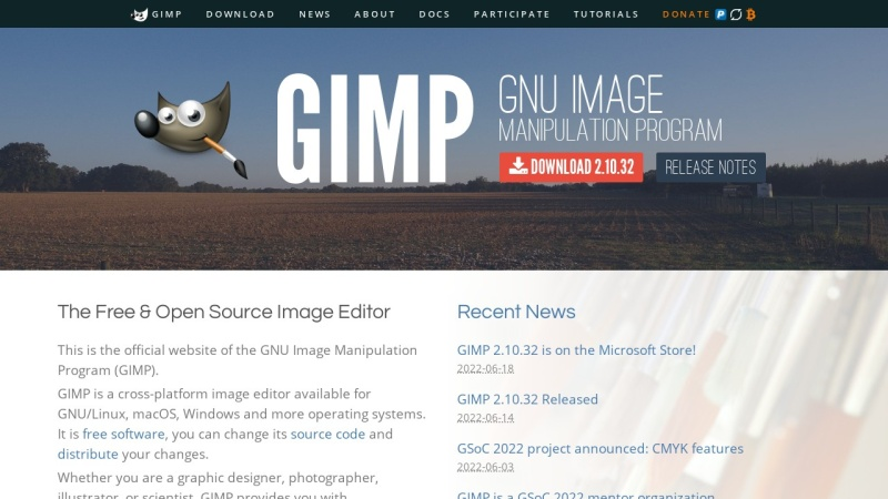 Screenshot von www.gimp.org