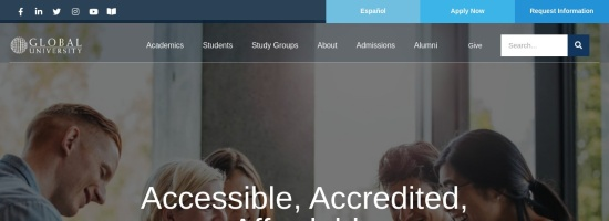 Screenshot of www.globaluniversity.edu