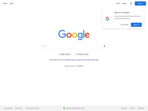Screenshot of www.google.ba