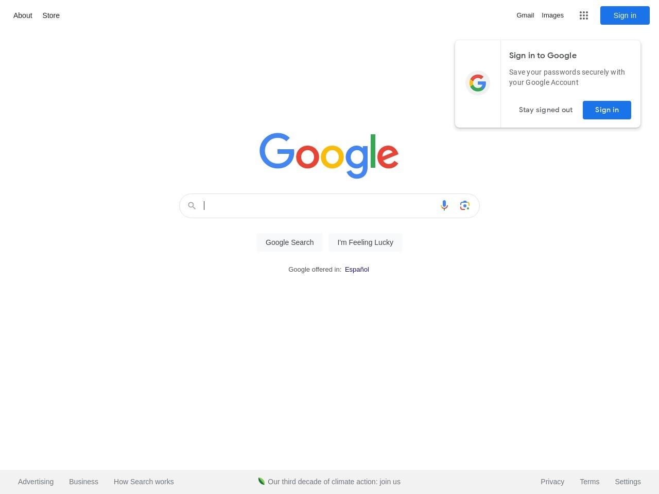 Captura de pantalla de www.google.es
