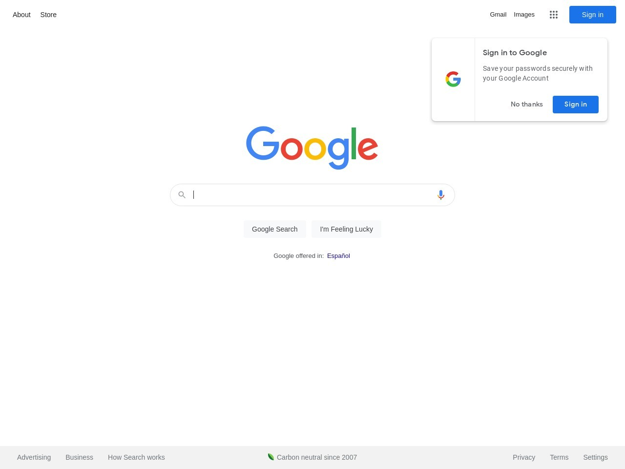 Screenshot of www.google.es