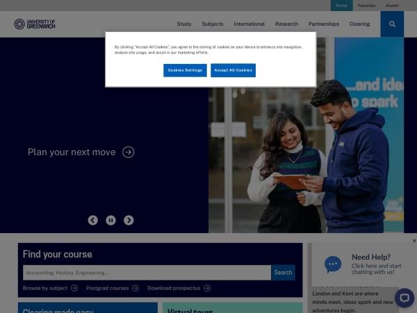 Screenshot of www.gre.ac.uk