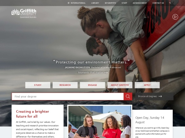 Screenshot of www.griffith.edu.au