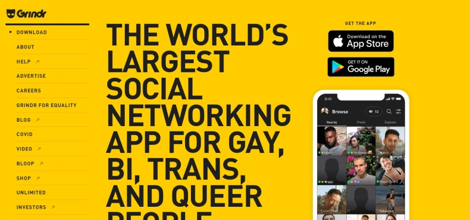 Screenshot of www.grindr.com