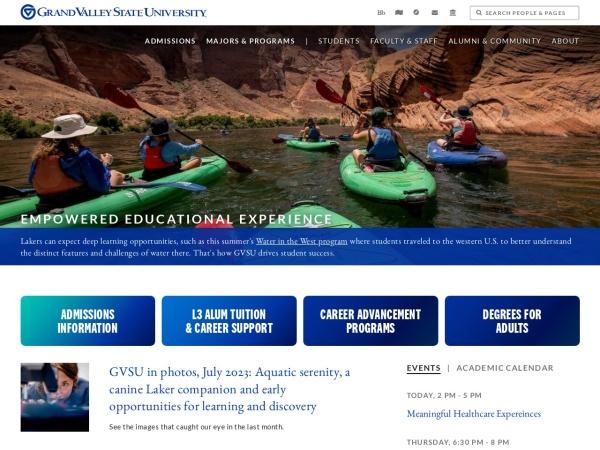 Screenshot of www.gvsu.edu