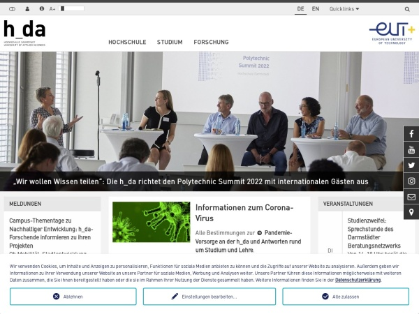 Screenshot of www.h-da.de
