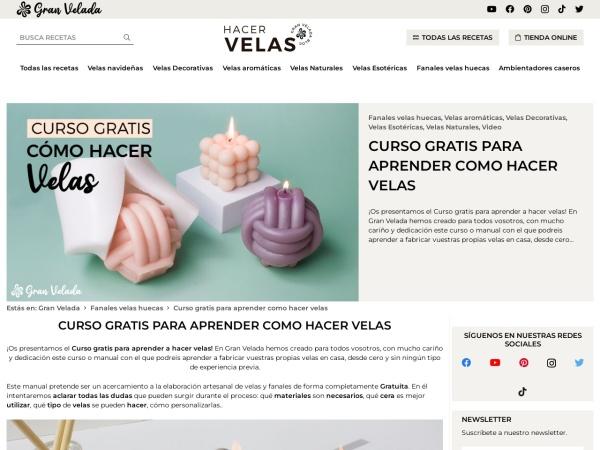 Captura de pantalla de www.hacervelas.es