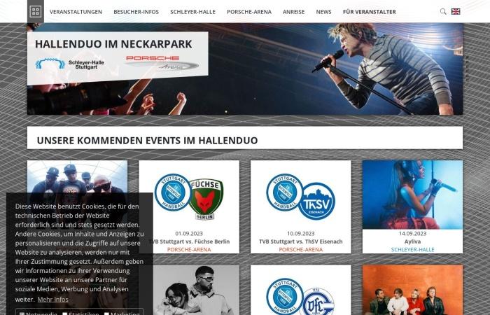 Screenshot von www.hallenduo.de
