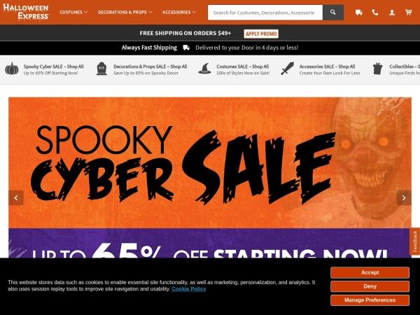 Screenshot of www.halloweenexpress.com