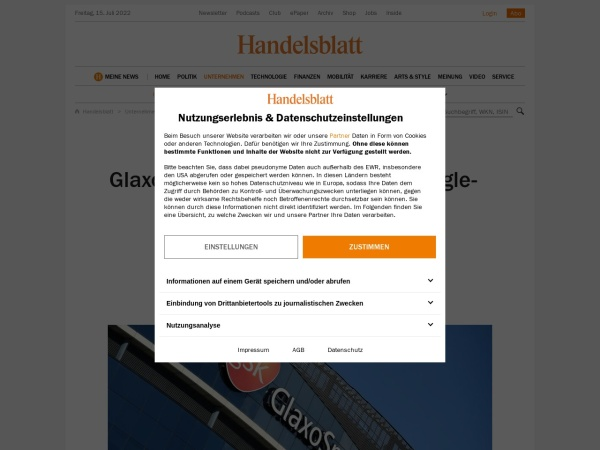 Screenshot of www.handelsblatt.com