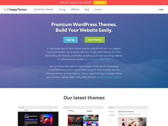 HappyThemes homepage