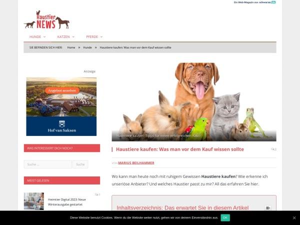 Screenshot von www.haustier-news.de