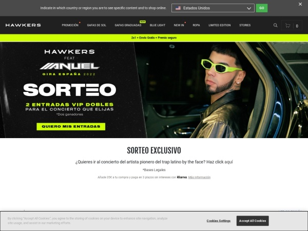 Captura de pantalla de www.hawkersco.com