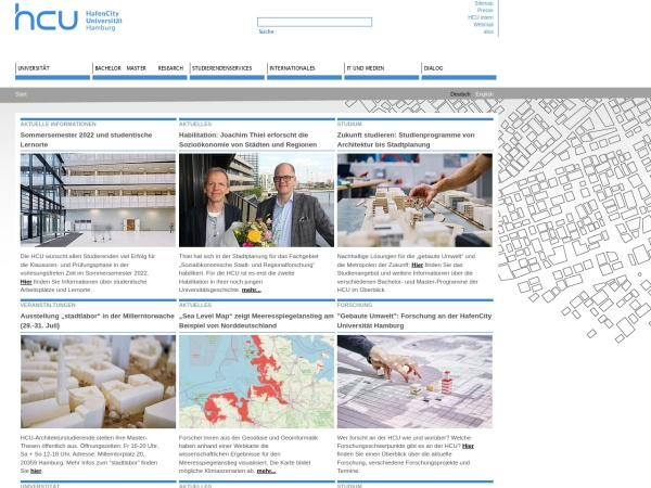 Screenshot of www.hcu-hamburg.de