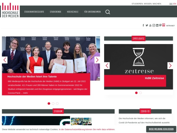 Screenshot of www.hdm-stuttgart.de