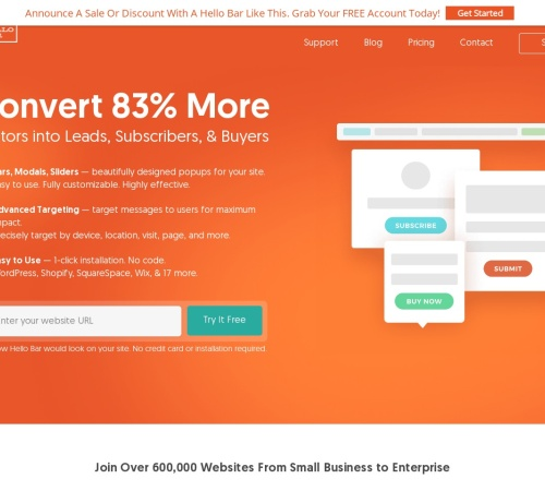 Screenshot of www.hellobar.com