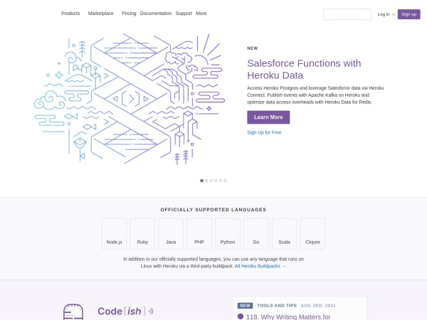 Screenshot of www.heroku.com