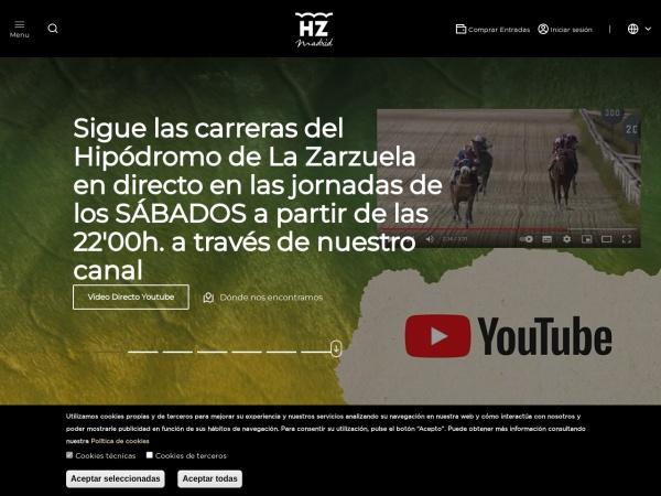 Captura de pantalla de www.hipodromodelazarzuela.es