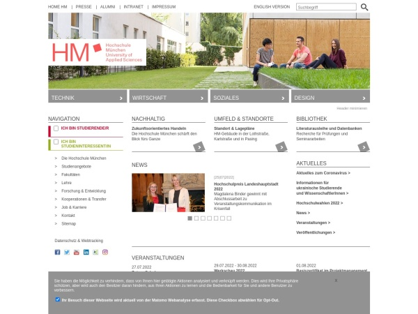 Screenshot of www.hm.edu
