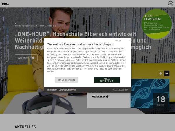 Screenshot of www.hochschule-biberach.de