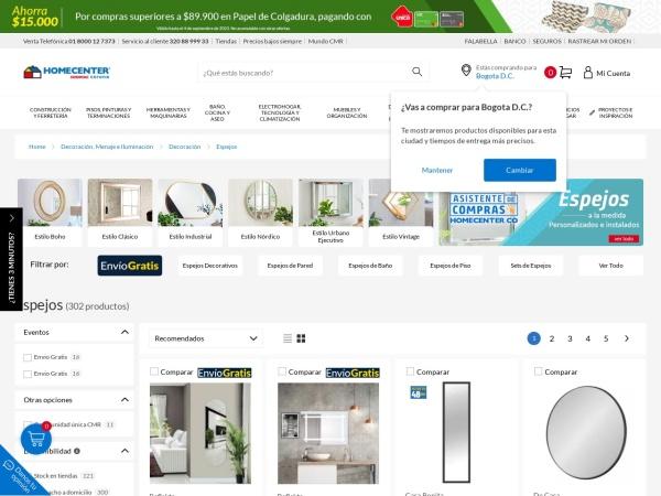 Captura de pantalla de www.homecenter.com.co