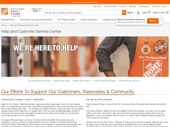 Help and Customer Service Center - The Home Depot