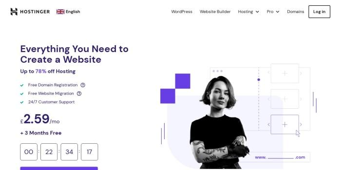 Screenshot of www.hostinger.co.uk