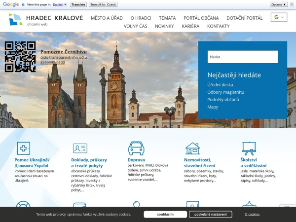 Screenshot of www.hradeckralove.org