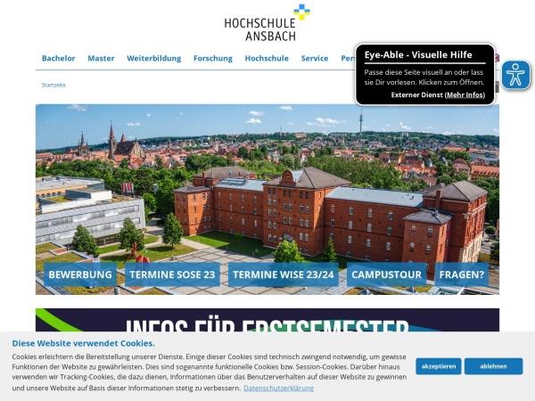 Screenshot of www.hs-ansbach.de