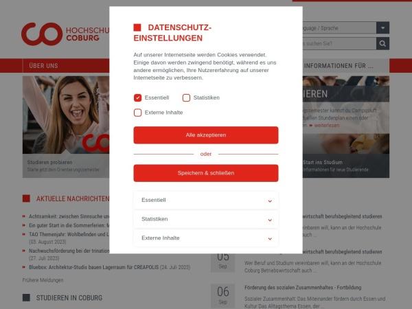 Screenshot of www.hs-coburg.de