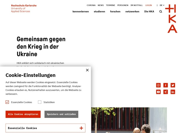 Screenshot of www.hs-karlsruhe.de