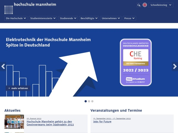 Screenshot of www.hs-mannheim.de