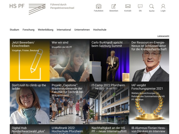 Screenshot of www.hs-pforzheim.de