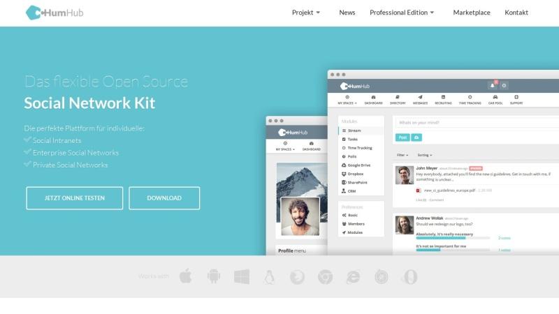 Screenshot von www.humhub.com