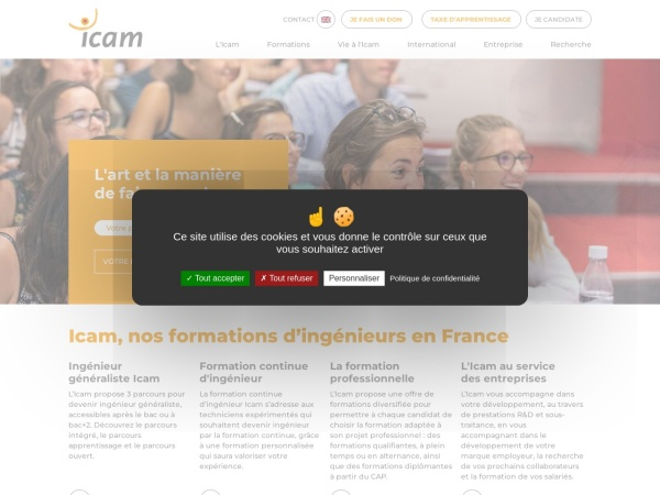 Screenshot of www.icam.fr