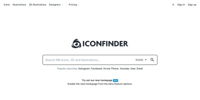 Screenshot of www.iconfinder.com