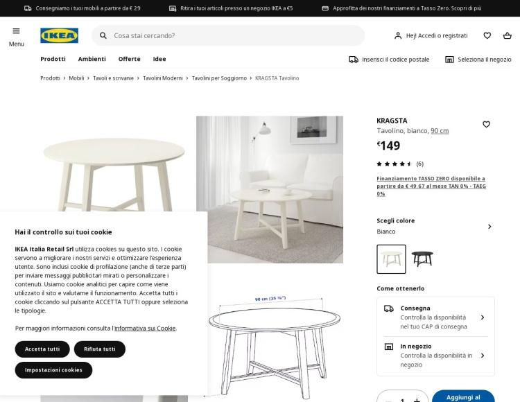 Tavolino rotondo Ikea Kragsta
