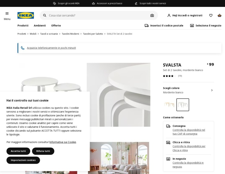 Tavolino rotondo bianco Ikea Svalsta