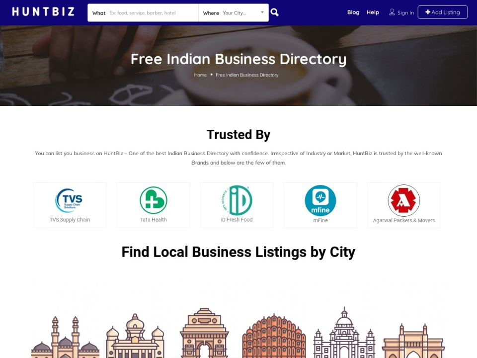 Screenshot of www.indiabizlist.com