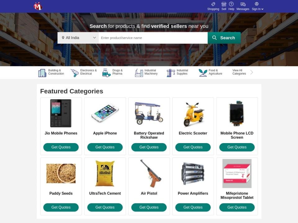 Screenshot of www.indiamart.com