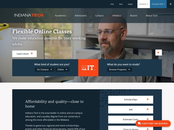 Screenshot of www.indianatech.edu