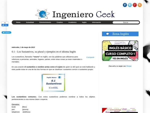 Captura de pantalla de www.ingenierogeek.com