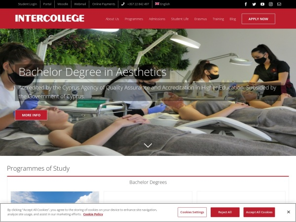 Screenshot of www.intercollege.ac.cy